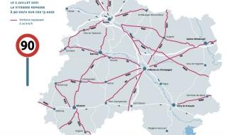 Décision du 02/07/2021 : retour au 90km/h sur certaines routes marnaises