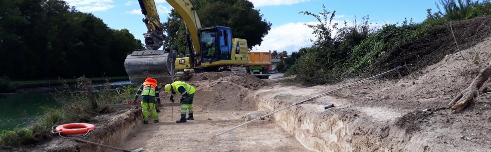 Véloroute : travaux d\'aménagement entre Tours-sur-Marne et Aÿ-Champagne (Bisseuil)
